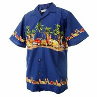 Men Aloha Shirt Cruise Tropical Luau Party Hawaiian Navy Vintage Cars Surf Palm