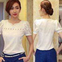 Women V-Neck Loose Chiffon Blouse Ladies Short Sleeve T-Shirt Casual Tops