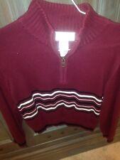 *STRASBURG* Burgundy & Black Long Sleeve Zip Up  Sweater Size 8-10 yr Holiday