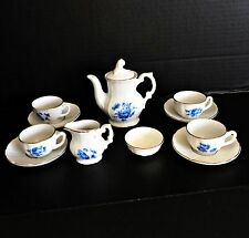 NEW Vtg Porcelain China Doll House Child Miniature Toy White Blue Rose Tea Set