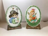 Pair of PRECIOUS MOMENTS Cameo Bisque Porcelain Hand Painted 1978
