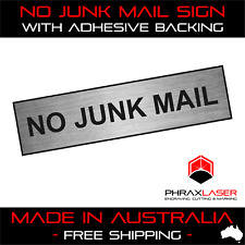 NO JUNK MAIL - SILVER SIGN - LABEL - PLAQUE 80mm X 20mm MAILBOX - LETTERBOX