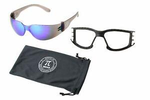 Set: PiWear Sonnenbrille - Dallas BM - blaue Gläser + abnehmbares Polster