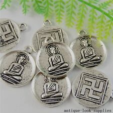 Vintage Silver Alloy Round Buddha Board Pendant Charms Craft Finding 15pcs 50802