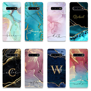 PERSONALISED MARBLE PHONE CASE NAME SILICONE COVER FOR SAMSUNG GALAXY S20 S10 S8