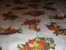 New listing Vintage Fiberglass Drapery Fabric Orange Yellow Fruit Vegetables