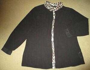 Julien Macdonald Black Sheer/Animal Print Trim Long/S Shirt 18