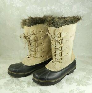 Eddie Bauer Snow Boots Women's Size 10 Rubber Duck Boot Faux Fur Leather Shaft