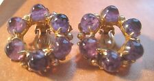 Vintage Amethyst Art Glass Paperweight Cabochons Donut Earrings