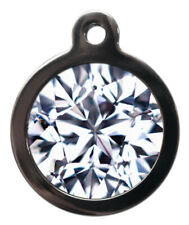 Pet Id tag Cute Diamond Picture Top Personalised Dog or Cat Tag two sizes