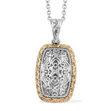 14k Yellow Gold and Platinum Over Silver Pendant With Stainless Steel Chain 20""