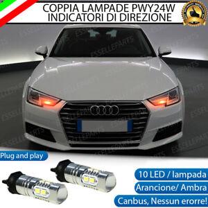COPPIA LAMPADE LED PWY24W AUDI A4 B9 CANBUS 10 LED FRECCE ANTERIORI NO ERRORE