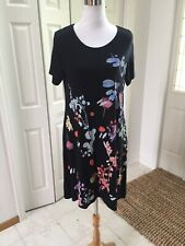 DESIGUAL Black Painted Floral Short Sleeve A Line Tunic XL NWOT