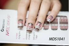 16x Vintage Nail Foil Wrap Patch Glossy Self-adhesive Decals Stickers MDS1041