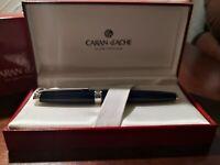 Caran d'Ache Leman Fountain Pen 18K M Nib Blue Laquar Chrome Trim