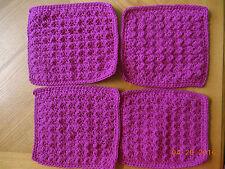 "LOT of 4-7""x 9"" DARK PINK COTTON Hand Crochet Dish Cloth/Doilies/Mats DISHCLOTHS"