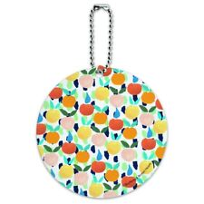 Colorful Citrus Tropical Fruits Pattern Round Luggage Card Carry-On ID Tag
