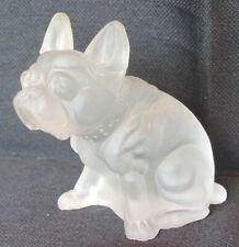 Vintage Frosted/Satin Clear Glass French Bulldog Boston Terrier Figurine VGC
