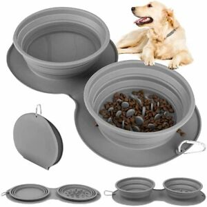 Collapsible Dog Double Bowls Portable Pet Slow Feeder Food Feeding Travel Dish~