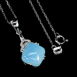 Unheated Cushion Blue Aquamarine 10mm Cz 925 Sterling Silver Necklace 18 Inches