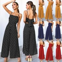 Women Casual Playsuit Strappy Polka Dots Bow Knotted Jumpsuit Wide Leg Pants