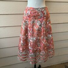 Anthropologie Sachin + Babi Strawberry Hill Skirt Midi Embroidered Pink Lace 8P