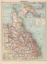1930 MAP ~ AUSTRALIA ~ QUEENSLAND INSET BRITISH NEW GUINEA