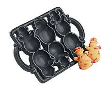 BNIB Cast Iron SNOWMAN Christmas/Holiday Baking Pan Muffin / Cookie Mold