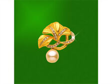 18K Gold Plated Many Zircon Gemstone Diamond Imitation Pearl 3 Leaf Pin Brooch