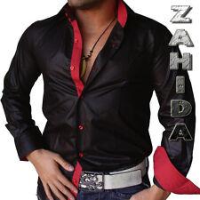 Camicia Uomo da nero rosso lucido maniche lunghe lacca-wet LOOK S M L XL XXL