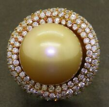 Heavy 18K gold 1.76CTW diamond & 15.6mm Golden South Seas pearl cocktail ring