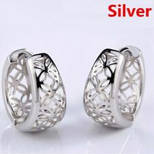 Silver Plated Hollow Out Earring Women Jewelry Hoop Carved Flower Ear Stud 2017