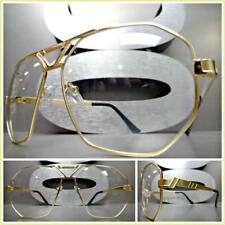 Men's Women VINTAGE RETRO Style Clear Lens EYE GLASSES Matte Gold Fashion Frame