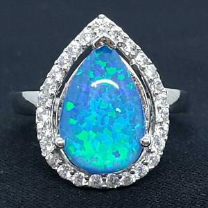 World Class 6.30ctw Opal & Diamond Cut White Sapphire 925 Sterling Silver Ring