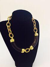 Kenneth Jay Lane Chunky Gold Necklace Costume Jewelry Signed Opulent Ornate Vtg.