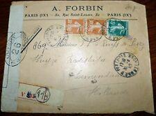 Zensur Reco 235 Brief Paris 118 1916 Frankreich France Ouvert 26 Bloemendaal (44