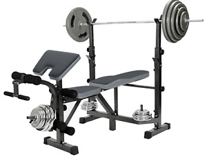 Weight Bench Press Lifting Rack With Preacher Curl Leg Developer Exercise Equip.