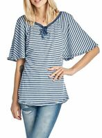 NWT UNION BAY WOMEN'S STRIPED LACE-UP TOP FLUTTER SLEEVE TWILIGHT 'M' MSRP32