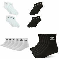 3 Pack Mens Adidas Originals Quarter Crew Socks Trefoil Logo Black or White