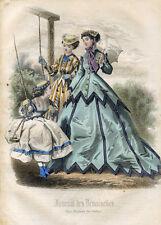 1866 - Gravure de Mode - JOURNAL DES DEMOISELLES - 8, escarpolette