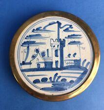 Messinguntersetzer mit alter Delfter Kachel, handbemalt, rund