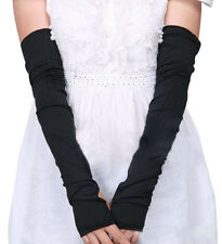 Lady Women Cotton Long Stretchy Fingerless Sun Protective Gloves