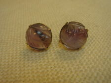 RARE VINTAGE CARVED AMETHYST AND GOLD EARRINGS