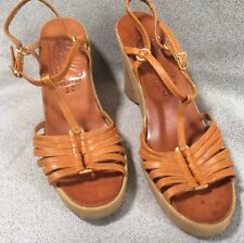 Vintage 70's Women Hi-Up Famolare Wedge Platform Shoes Hippie Disco Boho 8 1/2 N