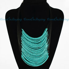 New Fashion Handmade Multilayer Blue Resin Glass Seed Beads Pendant Bib Necklace