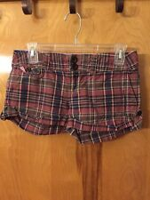 American Eagle Outfitters Size 0 Pink, Blue, Purple, & Brown Plaid Short Shorts