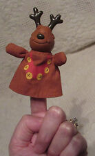 "Vintage REINDEER FINGER PUPPET w RUSS BERRIE #8201 Tag Vinyl and Cloth 4"" Tall"