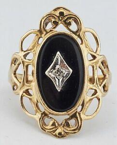 Vtg Art Deco 10K Yellow Gold Filigree Black ONYX & DIAMOND Accent RING Size 6.5