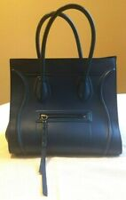 Celine Paris Handbag Trapeze Supple Calfskin Med Blue Expandable Wings Purse