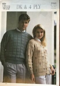 "DK / 4ply  Knitting Pattern  Men's Ladies Jumper Sweater Size 34/44"" Chest"